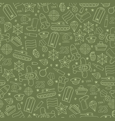 Defenders day military seamless pattern on green vector