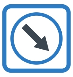 Down-right rounded arrow flat icon vector