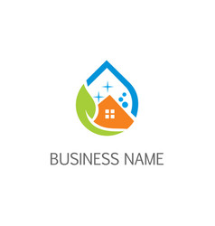 eco house cleaning logo vector image