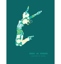 Emerald flowerals jumping girl silhouette vector
