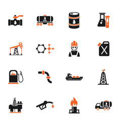 Extraction of oil icon set vector