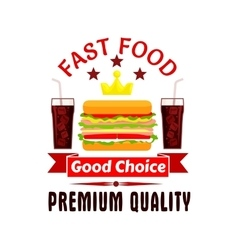 Fast food cheeseburger and soda coke icon vector image