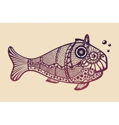 Fish with headphones vector image