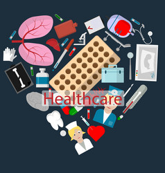 Flat 4 set of elements for health care theme vector