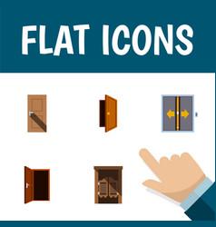 Flat icon door set entrance approach lobby vector