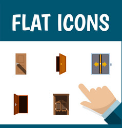 Flat icon door set of entrance approach lobby vector