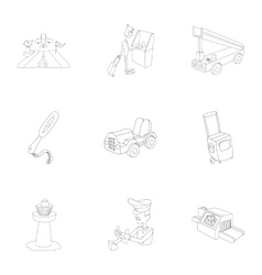 Flights icons set outline style vector image vector image