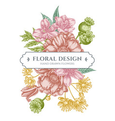 Floral bouquet design with pastel almond poppy vector