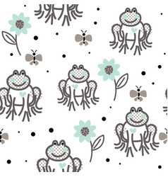 Funny frogs grey and blue seamless pattern vector