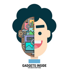 Gadgets inside my head vector
