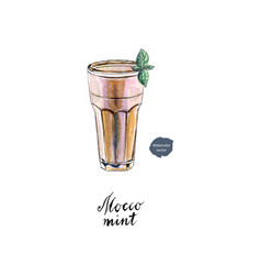 Glass mocco mint watercolor vector