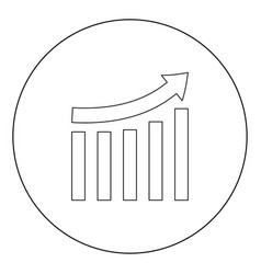 growing graph black icon in circle isolated vector image