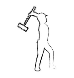 Grunge pictogram laborer with mallet equipment vector