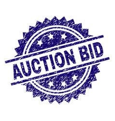 grunge textured auction bid stamp seal vector image