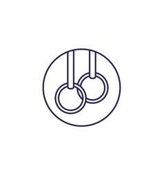 Gymnastics rings line icon vector