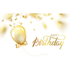 happy birthday card template with golden foil vector image