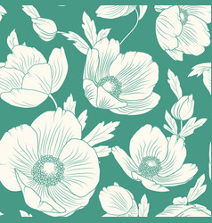 hellebore poppy flowers seamless pattern teal blue vector image