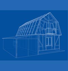 House sketch rendering of 3d vector