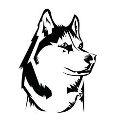 Husky logo portrait a black and white vector