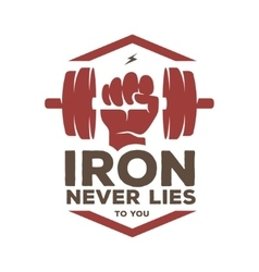 Iron never lies to you motivational poster or t vector image