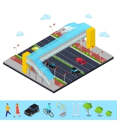 Isometric City Road with Pedestrian Bridge vector