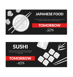 japanese food sushi horizontal sale banners set vector image