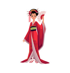 japanese geisha in kimono holding fan symbol of vector image