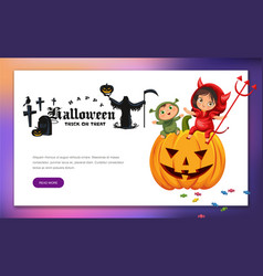 Kids sitting on halloween pumpkin vector