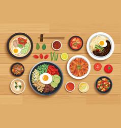 korean food set on top view wooden table vector image