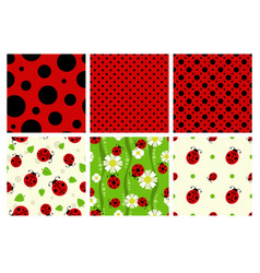 Ladybug patterns set vector