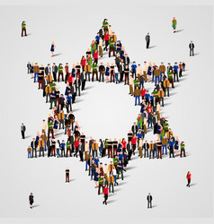 Large group people in star david shape vector