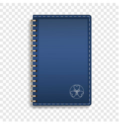 leather notebook icon realistic style vector image