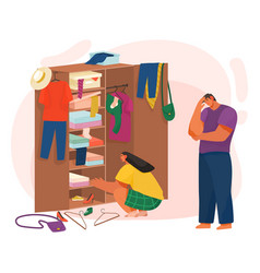 Life couple choosing clothes in cupboard vector