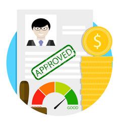 Loan approve emblem vector