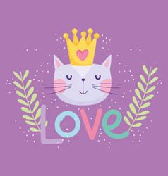 love cat face with crown decoration cartoon cute vector image
