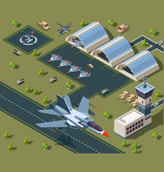 military airport isometric low poly 3d usa vector image
