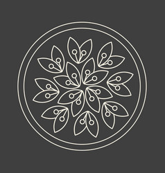 Minimalism linear flower logo art on dark grey vector