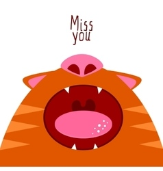 Miss you Open cat mouth vector image