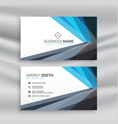 modern blue and black geometric business card vector image
