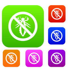 No louse sign set collection vector