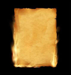 old parchment is burning vintage grunge texture vector image