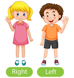 Opposite words with right hand and left hand vector