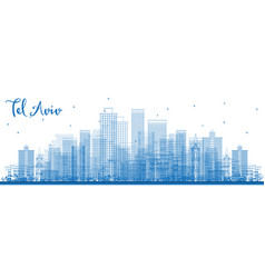outline tel aviv israel skyline with blue vector image