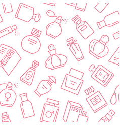 perfume bottles seamless pattern with line icons vector image