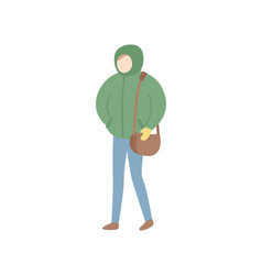person in warm clothes full length portrait vector image