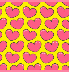 pink contour heart seamless pattern wrapping vector image