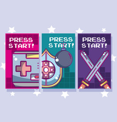 Press stars videogame banners vector