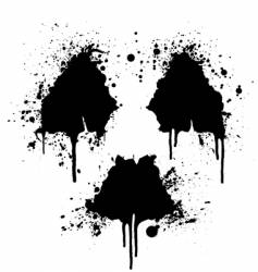 radioactive symbol ink splatter vector image