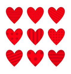 red heart icon set cute polka dot line pattern vector image