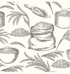 Rice doodle pattern vector